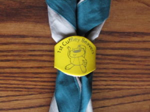 1st Cuffley Scout Group Scarf with Beaver Woggle, Beaver Scouts nearby, invested as a scout,