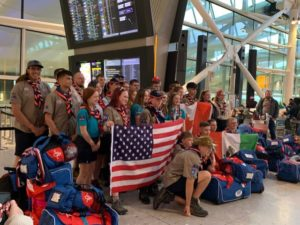 Cuffley Explorer Scouts join World Scout Jamboree. 1st Cuffley, Potters Bar District, Hertfordshire County