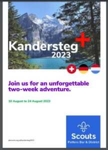 Cuffley Scout Group, Scouts, Explorers, Potters Bar District, Kandersteg, Viernheim, Switzerland, Germany, Luxemburg