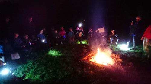 Cuffley Beaver Scouts, Cub Scouts, Scouts and Explorers at a Group Camp Fire.  Music and stunts.