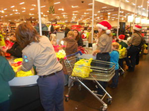 Cuffley Scout Group Christmas Bag Packing M&S Brookfield Farm Cheshunt